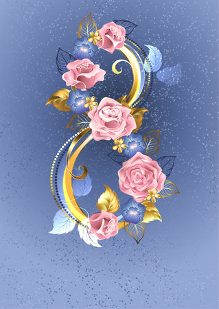 Eight of interwoven pink roses and blue violets on a serene blue background.