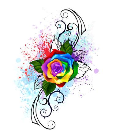 rosas naranjas: arco iris brillante se levantó con el patrón de púas sobre un fondo blanco, sombra brillantes salpicaduras de pintura.