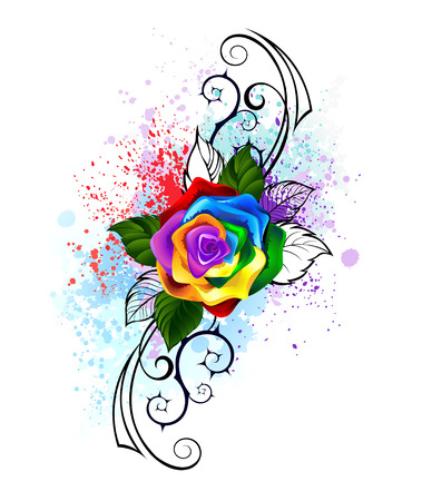 color tribal tattoo: bright rainbow rose with spiked pattern on a white background, shaded bright splashes of paint.