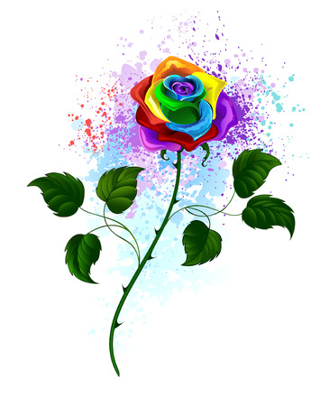 rainbow rose with a curved green stem and green leaves on a white background, shaded bright splashes of paint.