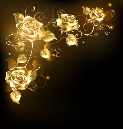 gold leaf: Twisted gold roses on a black background. Gold rose.