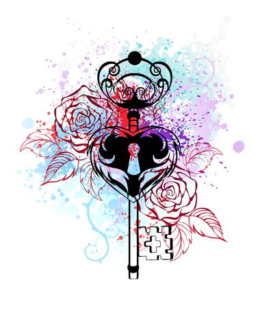 delinear el contorno llave con rosas brillantes de color blanco en la pintura de acuarela.