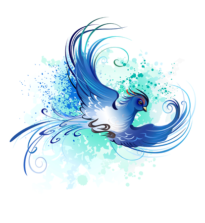 artistically painted, flying blue bird on a light background. Stock Illustratie