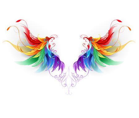 pluma: alas arco iris suaves sobre un fondo blanco. Vectores
