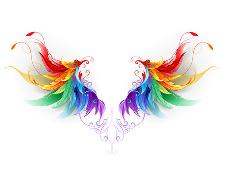 white flight feathers: fluffy rainbow wings on a white background.