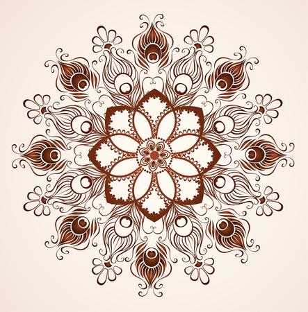 mandala de plumes de paon peint au henné sur un fond clair.