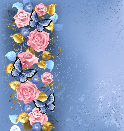 pattern of interwoven pink roses and blue violets, blue butterflies decorated in the fashion textural background.