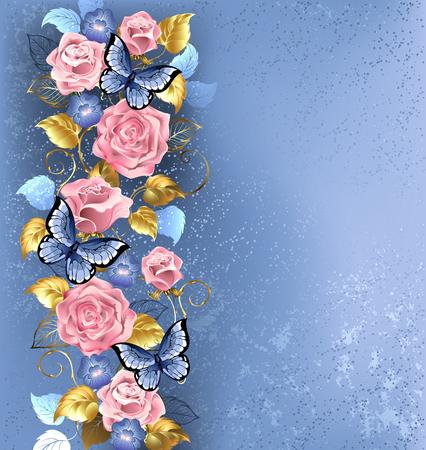 Modello di rose rosa intrecciati e viole blu, farfalle blu decorato in background strutturale della moda. Archivio Fotografico - 53171322
