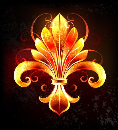 검정색 조직 상 배경에 예술적으로 불 fleur 드 lis를 그렸습니다. 일러스트