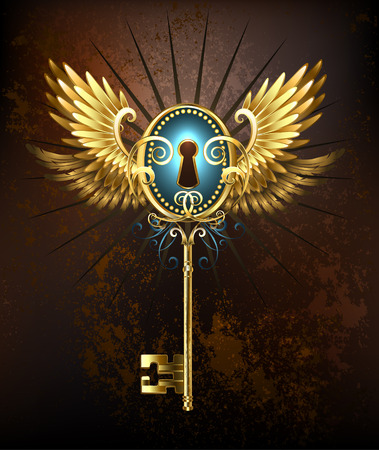 Steampunk golden key with mechanical wings on a rusty textural background.