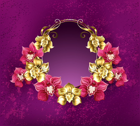 textural: Oval banner decorated with gold and pink orchids on a pink textural background. Floral design.