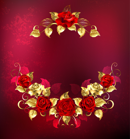 rose: symmetrical garland of gold jewelry and passionate red roses on a textured red  background. Floral Frame. Design of roses.