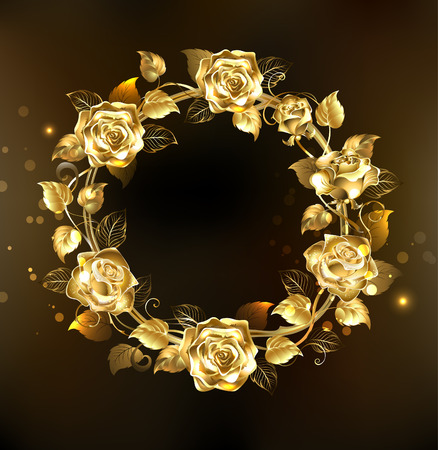 golden texture: wreath of gold, jewelry roses on a black background.  Floral Frame. Design of roses.