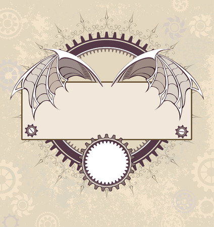 textural: Rectangular banner decorated with steampunk mechanical wings dragon on textural background with the gears.