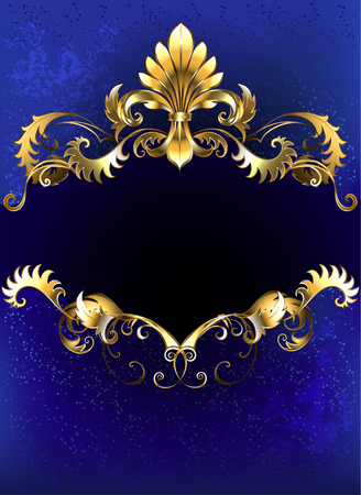 gold ornament: banner decorated with luxurious golden ornament and gold Fleur de Lis on a blue background.