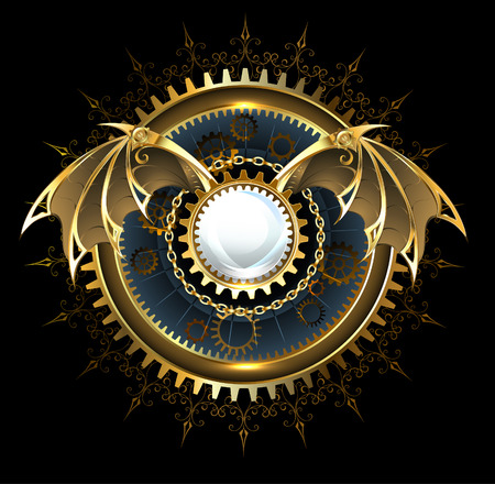 gothic design: Round banner with gears and mechanical brass wings of a dragon on a black background.