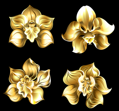 Set d'arte, gioielli, orchidee d'oro su sfondo nero.