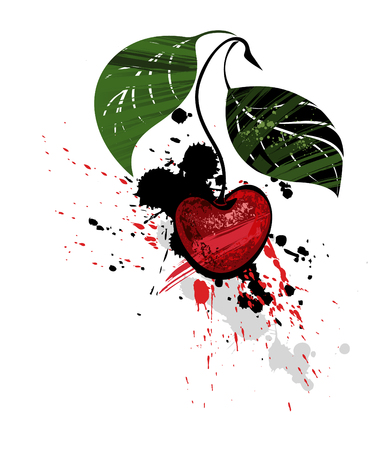 artistically: artistically painted cherry red and black splatter on a white background. illustration of berries.