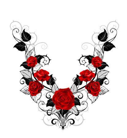 rosa negra: El modelo simétrico de rosas rojas y hojas y tallos negro sobre un fondo blanco. Diseño de rosas. estilo del tatuaje.