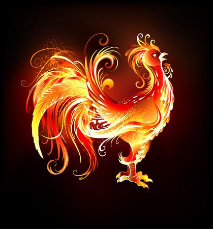 Artisticamente dipinte, brillante gallo fuoco su uno sfondo nero. Simbolo 2017.