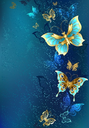 Flying gold, jewelry butterfly on blue textural background. Design with butterflies. Illustration