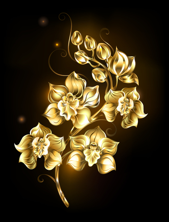 artistically painted, golden, sparkling jewelry orchid on a black background. Design with orchids Stock Illustratie
