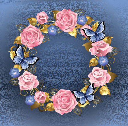 brocade: Round wreath of pink roses, violets blue, gold jewelery and blue leaves with blue butterflies on a blue background brocade. Design of roses