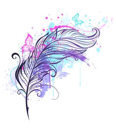 Konturfeder mit Tropfen von hellen Farben und bunte Schmetterlinge fliegen. Tattoo-Stil Standard-Bild - 55839985