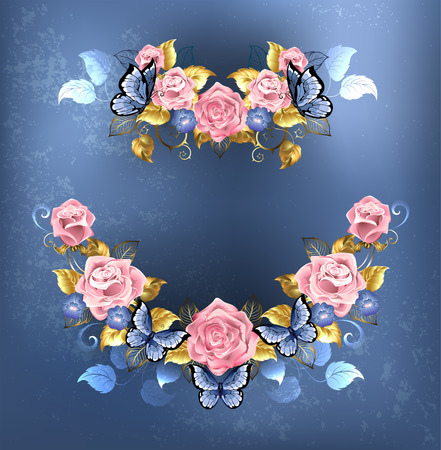 pink rose: artistically painted the garland of roses, violets blue with blue butterflies on blue textural background. Design of roses.