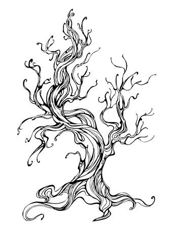 artísticamente elaborado esquema de árbol viejo en un fondo blanco. estilo del tatuaje. Dibujado a mano. dibujo de bosquejo.