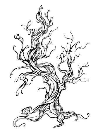 stylized: artistically drawn old tree outline on a white background. Tattoo style. Hand drawn. Sketch drawing. Illustration