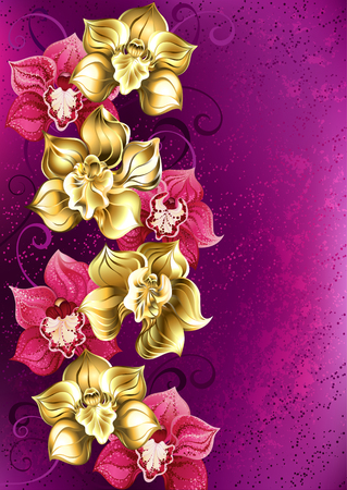 artistically painted yellow and pink orchid on pink textural background. Design of orchids. Floral design.  イラスト・ベクター素材