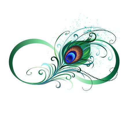 El símbolo del infinito con un brillante, verde, plumas de pavo real artística sobre un fondo blanco. estilo del tatuaje.