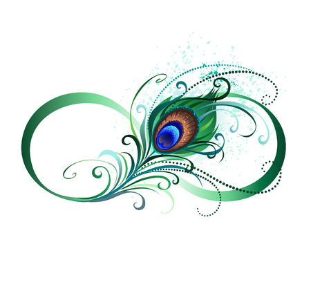 The symbol of infinity with a bright, green, artistic peacock feather on a white background. Tattoo style. Ilustração