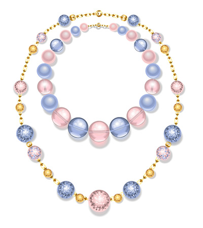 female pink: necklace of gold chains and beads fashion, pink and blue on a white background. Rose Quartz and serenity.