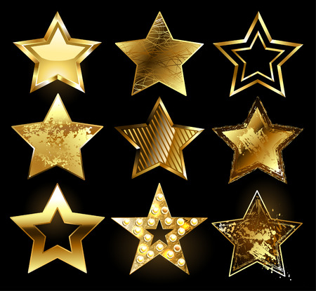 Set of gold stars with a variety of textures on a black background. Design with stars.