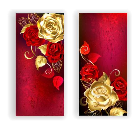 deux bannières avec de l'or et de roses rouges sur fond texture rouge. Concevoir avec des roses. Or rose. Vecteurs