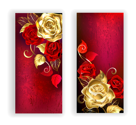 rose petal: two banners with gold and red roses on red textural background. Design with roses. Gold rose. Illustration