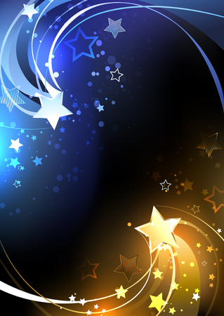 stars background: Design with a gold and blue stars on a black background. Contrast. Design with stars.