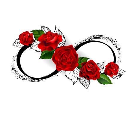 simbolo di infinito con rose rosse e steli nere su sfondo bianco. Progettare con rose. stile tatuaggio. stile gotico. Grafica tribali. Stile schizzo. Vettoriali