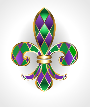 gold jewelry lily, decorated with green and purple diamonds on a light background. Fleur de Lis. Fat Tuesday. Mardi Gras
