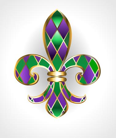 gouden sieraden lelie, versierd met groene en paarse diamanten op een lichte achtergrond. Fleur de Lis. Dikke dinsdag. Mardi Gras