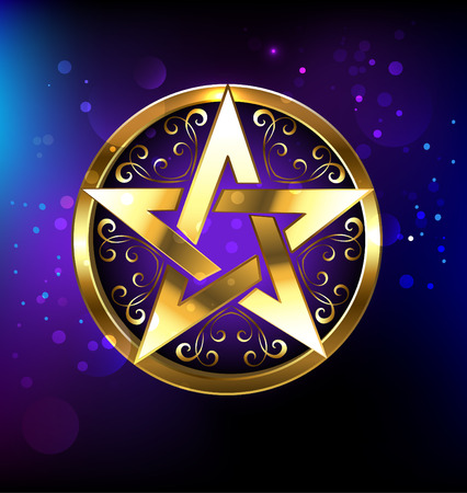 mysticism: Magic pentagram glowing in gold on the space background. Magic design. Gold pentagram. Gothick style. Mysticism and the occult. Wiccan star