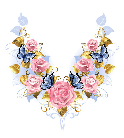 sparkling: Symmetrical pattern of pink roses, blue butterfly, blue and gold leaf on a white background. Design with roses. Pink rose. Trendy colors. Rose Quartz and serenity. Illustration
