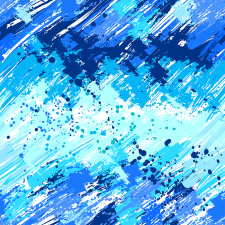 paint strokes: seamless pattern painted spots, drops, splashes, brush strokes and bright blue with white paint.  Brush strokes. Grunge Texture.Grunge Background