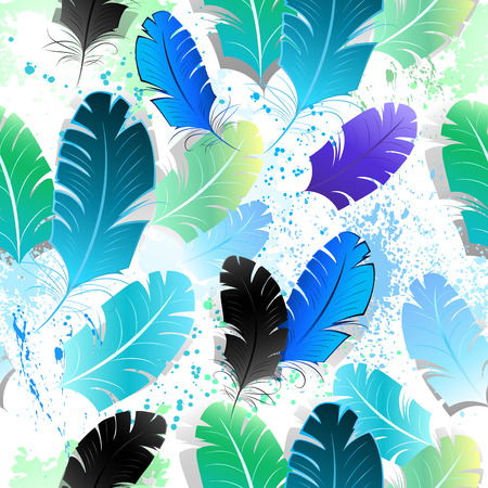 easiness: seamless pattern with bright blue, green and black feathers on a white background, shaded paint spots. Design with feathers. Bright feathers. Seamless pattern.