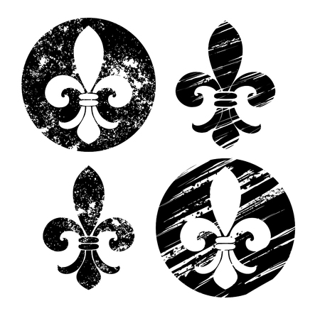 royal french lily symbols: Set of Fleur-de-lis, painted in black on a white background. Sketch style. Drawing in black paint. Grunge Texture.