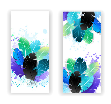 easiness: Two banners with bright blue, green feathers on a light background. Design with feathers. Boho style