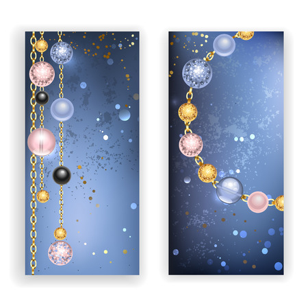 ball and chain: two banners with black, pink, blue beads and gold chains on a blue textural background. Trendy color. Jewelry Design.Rose Quartz and serenity.
