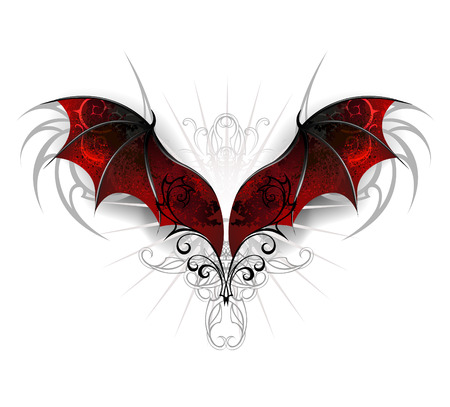 Red, textured dragon wings on a white background. Gothick style Illustration
